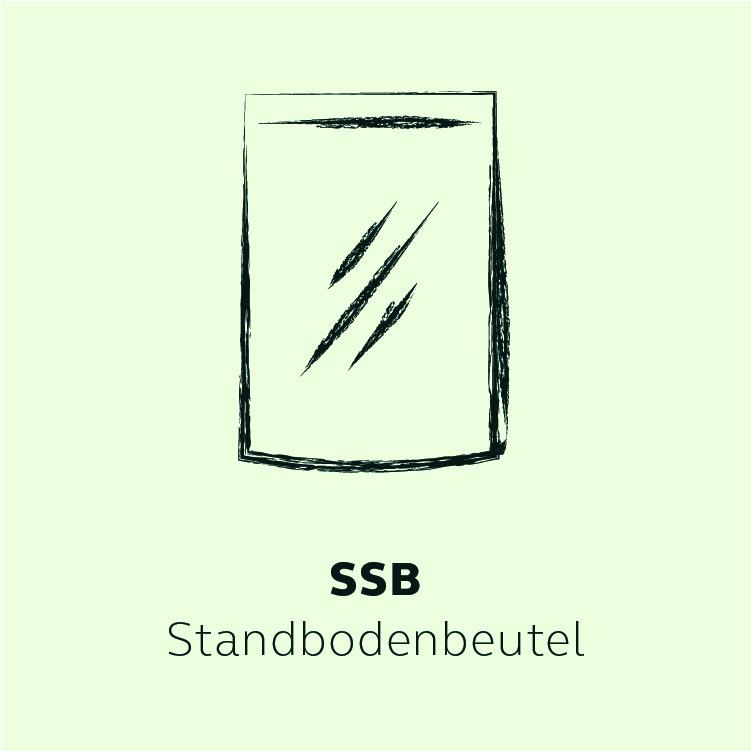 SBB-Standbodenbeutel MENÜPLAN Verpackung Skizze