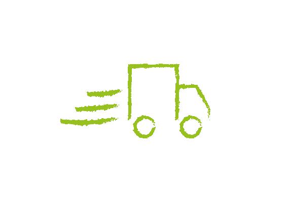 MENÜPLAN Icon: schnelle Lieferung und eigener Fuhrpark in grün